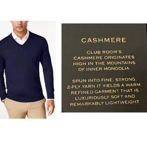Club Room V-neck sweater 100% cashmere Navy Sz M